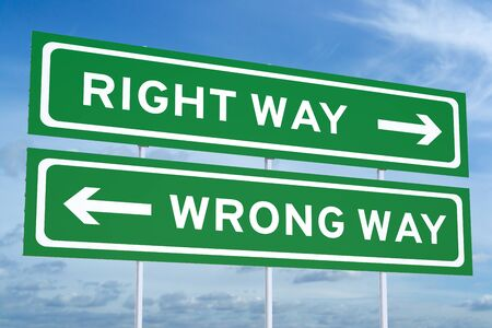 right vs wrong: Right or Wrong way Road Sign