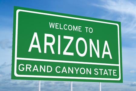 accomplish: Welcome to Arisona concept on road billboard Stock Photo