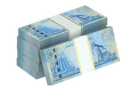packs of Bahraini dinars isolated on white background