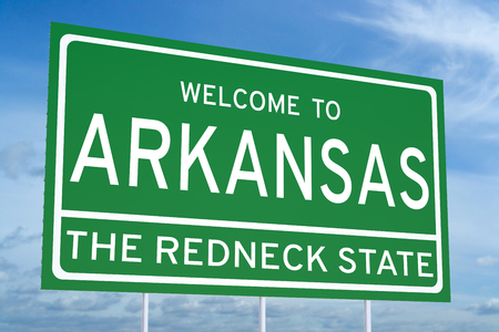 redneck: Welcome to Arkansas state concept on road sign