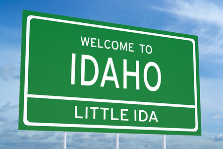 ida: Welcome to Idaho state concept on road sign