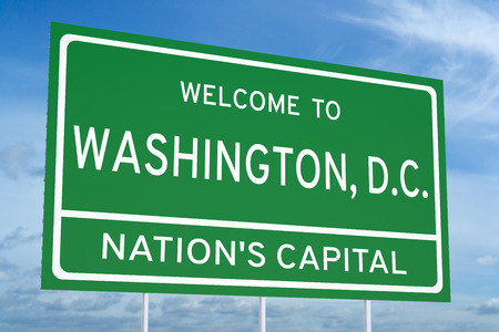 accomplish: Welcome to Washington state concept on road sign Stock Photo