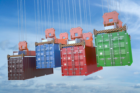 seafreight: cargo delivery concept, containers with crane hook