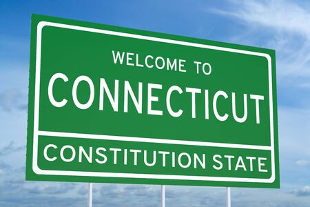 accomplish: Welcome to Connecticut state concept on road sign Stock Photo
