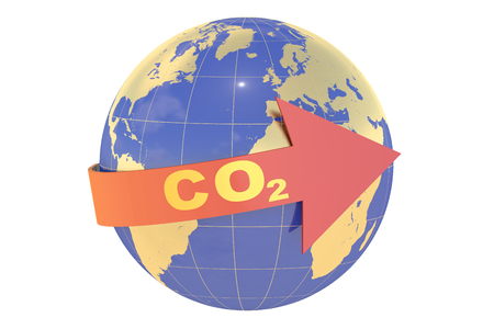 CO2 with earth globe concept isolated on white background Stock Photo