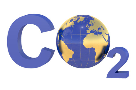 CO2 with earth globe isolated on white background