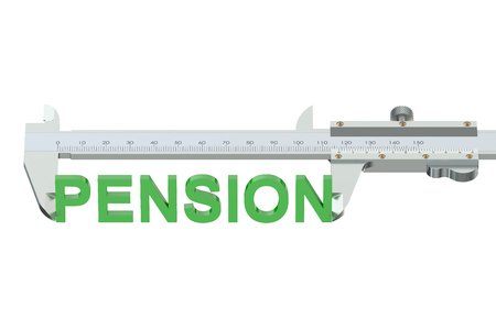 pension: measuring pension concept  isolated on white background