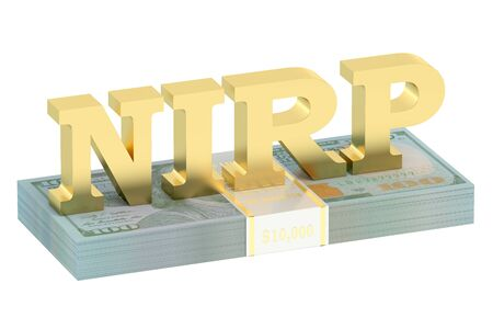 macroeconomic: NIRP concept with pack of dollars isolated on white background Stock Photo