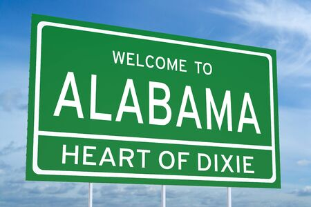 alabama state: Welcome to Alabama state concept on road sign