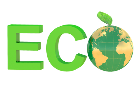 reusing: Eco concept with globe isolated on white background Stock Photo