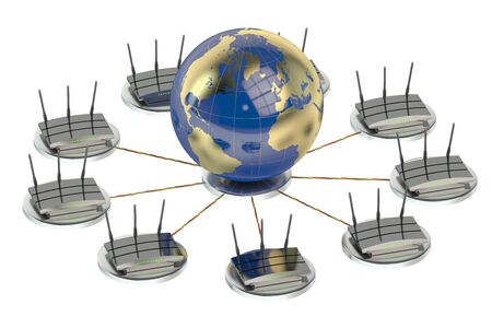 routers: networking computing concept with globe and routers