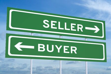 Verkäufer oder Käufer Konzept auf den Straßenschildern Standard-Bild