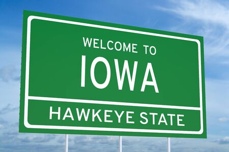 accomplish: Welcome to Iowa state concept on road sign
