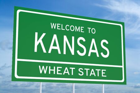Welcome to Kansas state concept on road sign