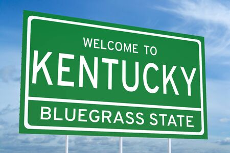 accomplish: Welcome to Kentucky state concept on road sign Stock Photo