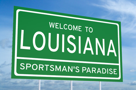 louisiana state: Welcome to Louisiana state concept on road sign Stock Photo