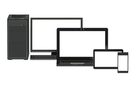 laptop screen: Modern computer, laptop, tablet and smartphone with white screen