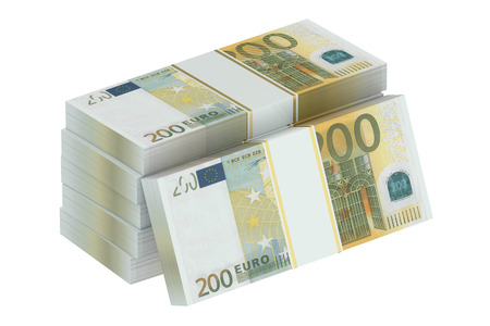 paper wad: packs of 200 euro isolated on white background