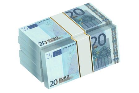 paper wad: packs of euro isolated on white background Stock Photo