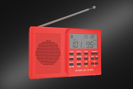 receiver: red digital receiver isolated on black background Stock Photo