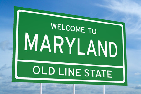 accomplish: Welcome to Maryland state concept on road sign Stock Photo