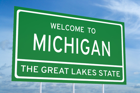 accomplish: Welcome to Michigan state concept on road sign
