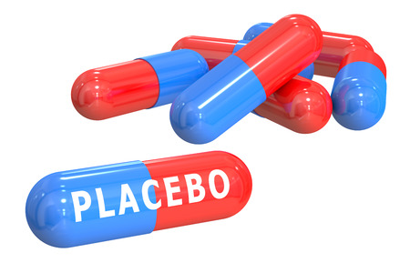 placebo: placebo concept with capsules isolated on white background
