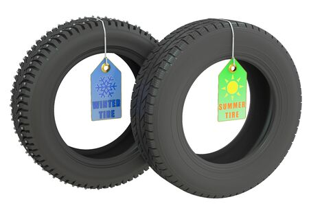 summer tires: winter and summer tires isolated on white background Stock Photo