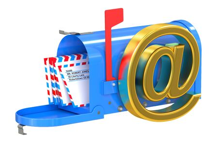 metal mailbox: E-mail and internet messaging concept isolated on white background