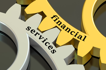 aiding: Financial Services concept on the metallic gearwheels