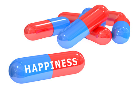 happiness concept: happiness concept with capsules isolated on white background Stock Photo