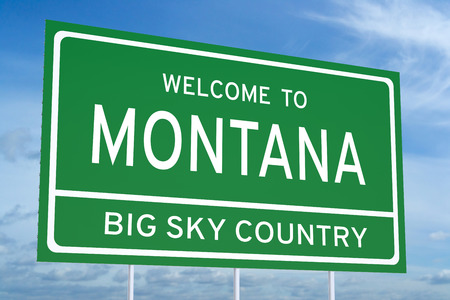 accomplish: Welcome to Montana state concept on road sign