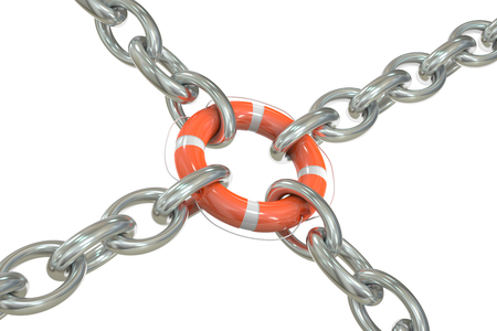 oneness: Chain with lifebuoy, business concept isolated on white background Stock Photo