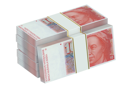 paper wad: pack of swiss francs isolated on white background Stock Photo