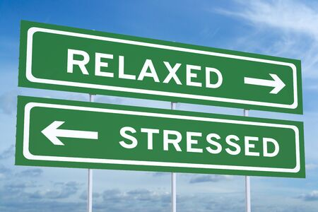 relaxed: relaxed or stressed concept on the road signs