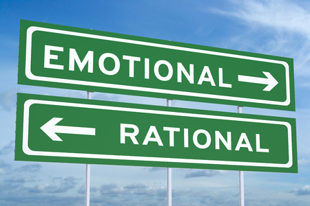 emotional or rational concept on the road signs Banco de Imagens