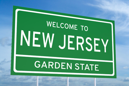 accomplish: Welcome to New Jersey state concept on road sign Stock Photo