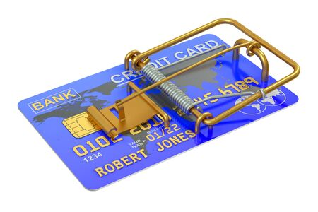 casualness: Mousetrap with Credit Card isolated on white background Stock Photo