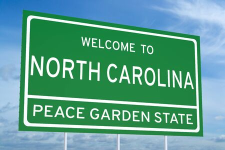north carolina: Welcome to North Carolina state concept on road sign Stock Photo