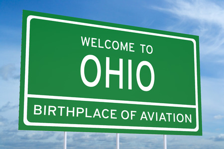 accomplish: Welcome to Ohio state concept on road sign Stock Photo