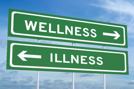 medical signs: wellness or illness concept on the road signpost