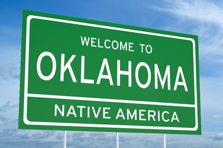accomplish: Welcome to Oklahoma state concept on road sign