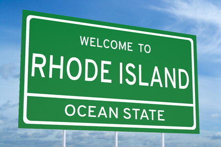 island state: Welcome to Rhode Island state concept on road sign Stock Photo
