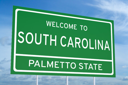 sign road: Welcome to South Carolina state concept on road sign