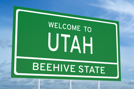 accomplish: Welcome to Utah state concept on road sign Stock Photo