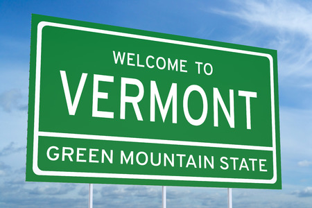 accomplish: Welcome to Vermont state concept on road sign Stock Photo