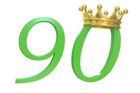 90 years: 90 years of Queen, 3D rendering Stock Photo