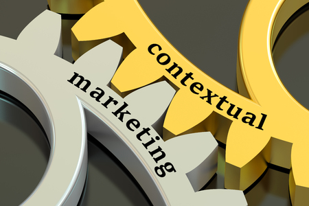 contextual: Content marketing concept on the gearwheels, 3D rendering