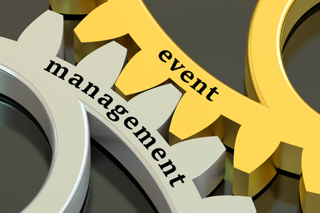 event management: Event Management concept on the gearwheels, 3D rendering