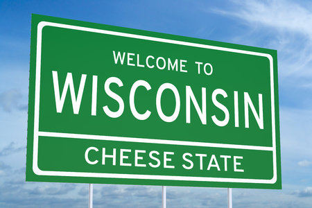 accomplish: Welcome to Wisconsin state concept on road sign, 3D rendering Stock Photo